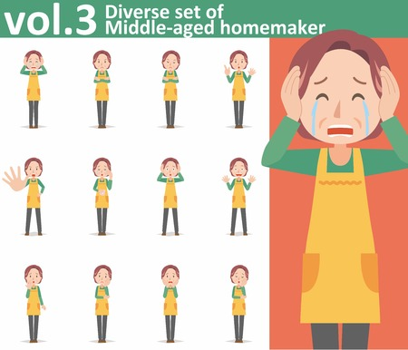 mature: Diverse set of middle-aged homemaker wearing an apron on white background