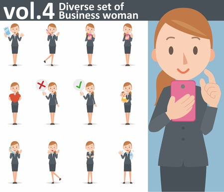 smart phone woman: Diverse set of business woman on white background Illustration