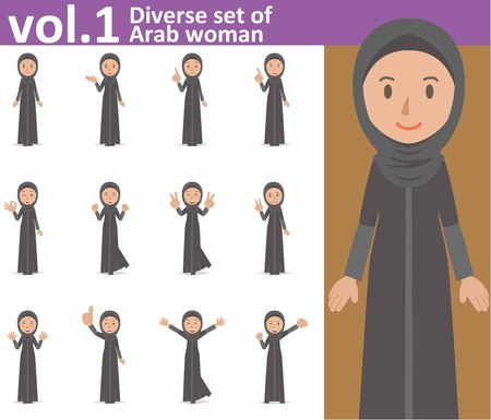 diverse set of Arab woman on white background