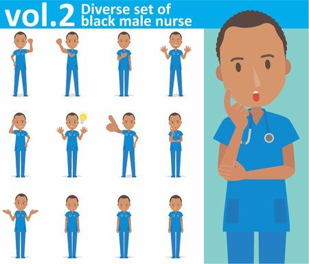 Diverse set of black male nurse on white background Vectores