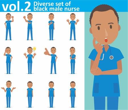Diverse set of black male nurse on white background Vettoriali