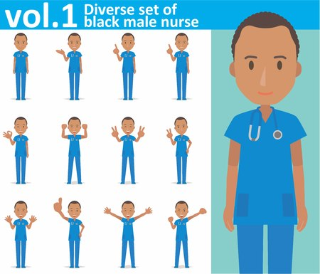 Diverse set of black male nurse on white background 向量圖像