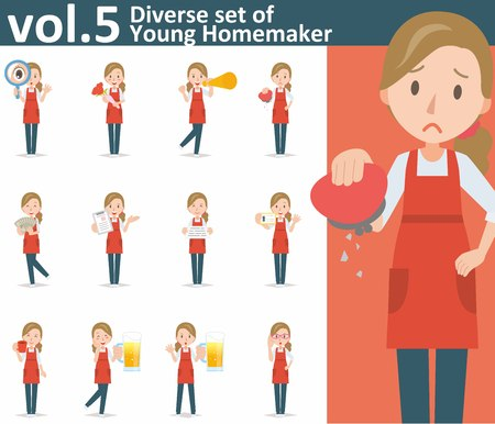 homemaker: Diverse set of yong homemaker on white background , EPS10 vector format vol.5