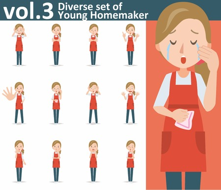 yong: Diverse set of yong homemaker on white background , EPS10 vector format vol.3