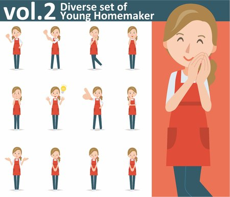 homemaker: Diverse set of yong homemaker on white background , EPS10 vector format vol.2
