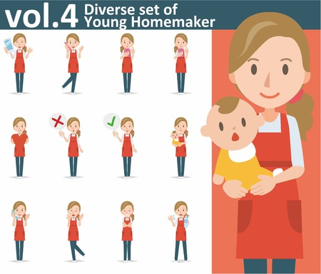 smart phone woman: Diverse set of yong homemaker on white background , EPS10 vector format vol.4