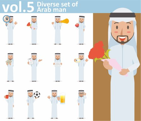 man holding card: Diverse set of Arab man on white background EPS10 vector format vol.5