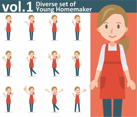 Diverse set of yong homemaker on white background , EPS10 vector format vol.1