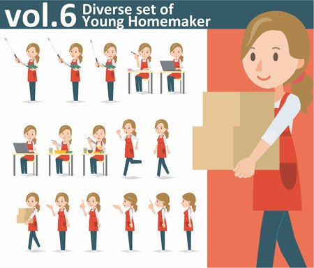 yong: Diverse set of yong homemaker on white background , EPS10 vector format vol.1