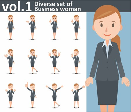 Diverse set of business woman on white background , EPS10 vector format vol.1 Vectores