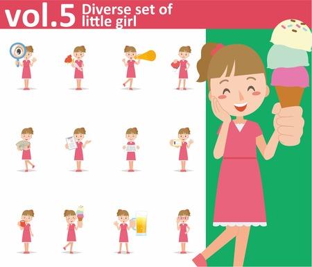 Diverse set of little girl on white background , EPS10 vector format vol.5