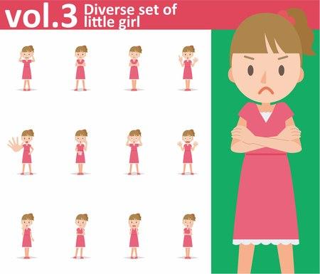 Diverse set of little girl on white background , EPS10 vector format vol.3