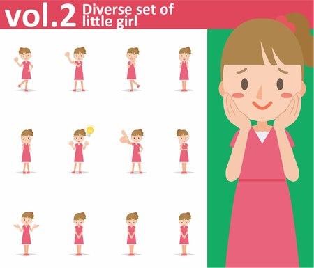 Diverse set of little girl on white background , EPS10 vector format vol.2 Vetores