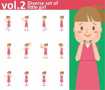 Diverse set of little girl on white background , EPS10 vector format vol.2 Illustration