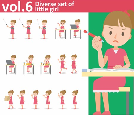 Diverse set of little girl on white background , EPS10 vector format vol.6