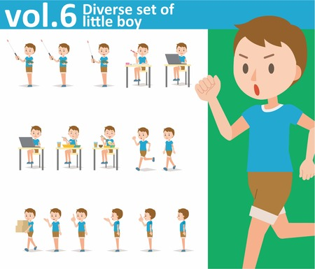 Diverse set of little boy on white background , EPS10 vector format vol.6