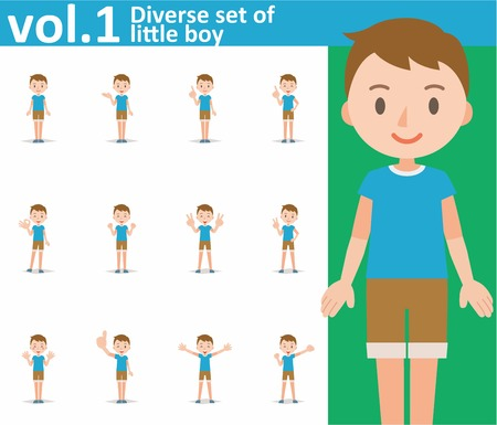 1 person: Diverse set of little boy on white background , EPS10 vector format vol.1 Illustration