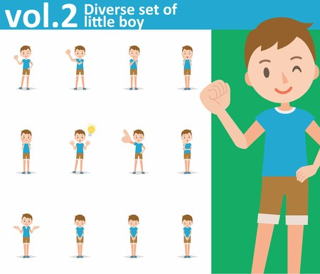 Diverse set of little boy on white background , EPS10 vector format vol.2
