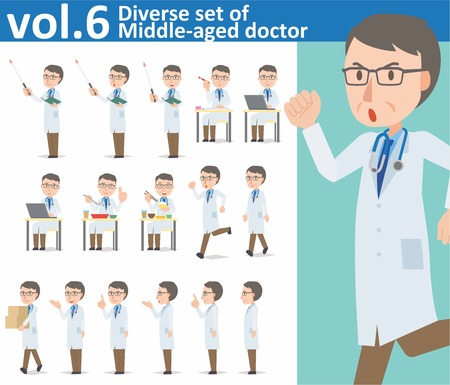 medical student: Diverse set of Middle-aged doctor on white background , EPS10 vector format vol.6