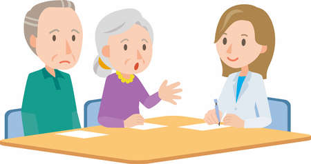 family discussion: Doctor meeting couple in hospital office