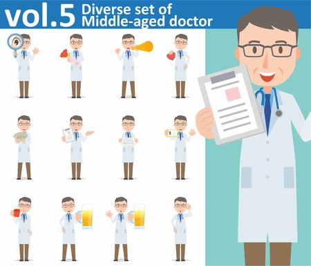 Diverse set of Middle-aged doctor on white background , EPS10 vector format vol.5