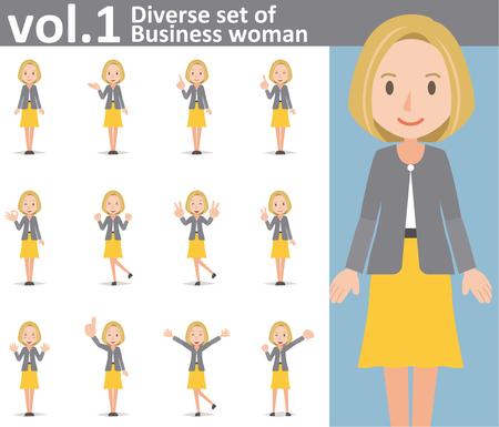 conjunto diverso de la mujer de negocios sobre fondo blanco, vector EPS10 formato vol.1