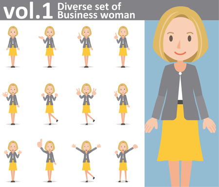 Diverse set of Business woman on white background , EPS10 vector format vol.1