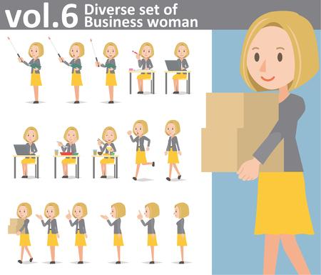 Ensemble diversifié de femme d'affaires sur fond blanc, format vectoriel EPS10 vol.6