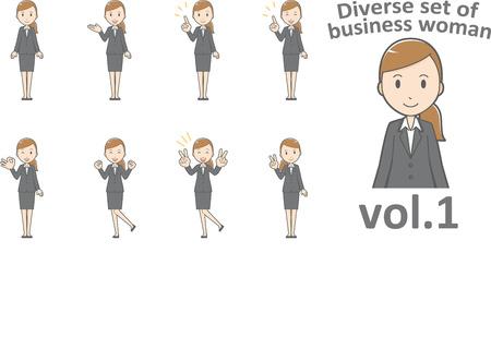 EPS10 形式 vol.1 ビジネス女性の多様なセット