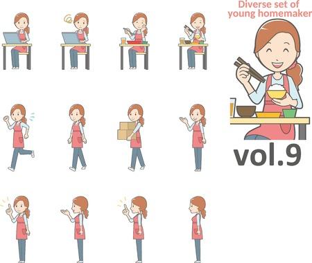 Diverse set of young homemaker, EPS10 vector format vol.9