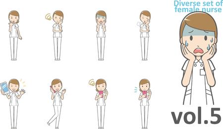 Diverse set of female nurse , EPS10 vector format vol.5 Ilustrace