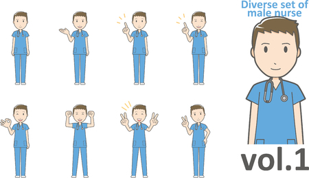 Diverse set of male nurse , EPS10 vector format vol.1 Ilustrace
