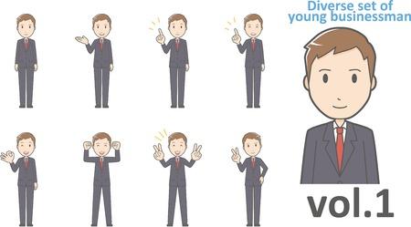 conjunto diverso de joven hombre de negocios, vector EPS10 formato vol.1