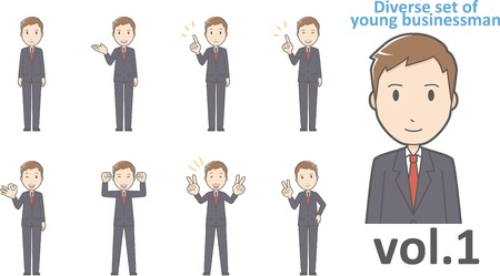 Diverse set of young businessman , EPS10 vector format vol.1