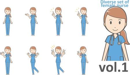 Diverse set of female nurse , EPS10 vector format vol.1