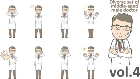 Diverse set of middle-aged male doctor , EPS10 vector format vol.4