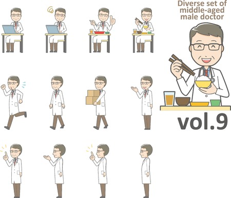 Diverse set of middle-aged male doctor , EPS10 vector format vol.9