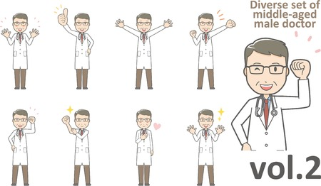 Diverse set of middle-aged male doctor , EPS10 vector format vol.2