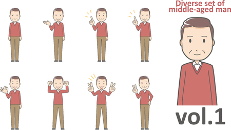 Diverse set of middle-aged man , EPS10 vector format vol.1