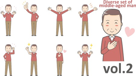 Diverse set of middle-aged man , EPS10 vector format vol.2