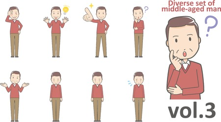 Diverse set of middle-aged man , EPS10 vector format vol.3