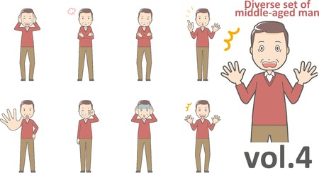 Diverse set of middle-aged man , EPS10 vector format vol.4 Иллюстрация