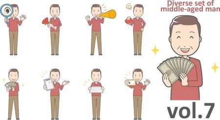 Diverse set of middle-aged man , EPS10 vector format vol.7 Иллюстрация