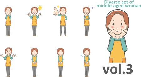 Diverse set of middle-aged woman , EPS10 vector format vol.3 Çizim