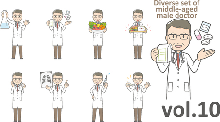 Diverse set of middle-aged male doctor Stock Illustratie