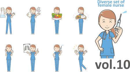 Diverse set of female nurse Ilustracja