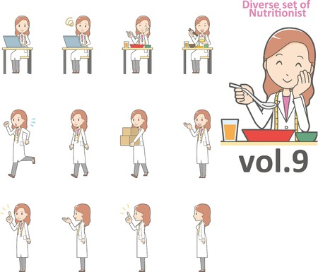 Diverse set of nutritionist Иллюстрация
