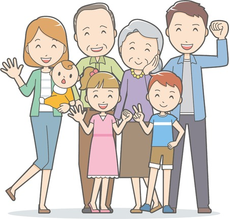 family isolated: Healthy family(3 generations)