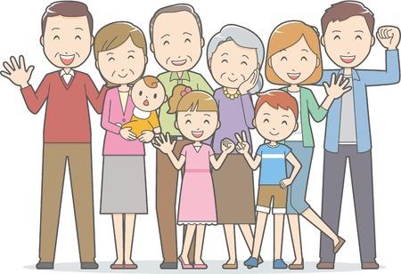 Healthy family(4 generations) Reklamní fotografie - 66986396