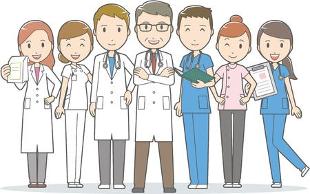 Doctors and other hospital staff Ilustracja